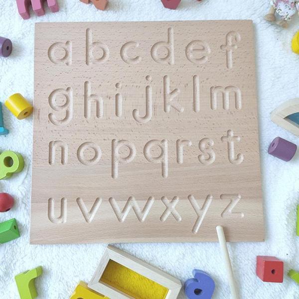 Joc  lemn montessori litere si cifre Tabla de urmariere al literelor 2