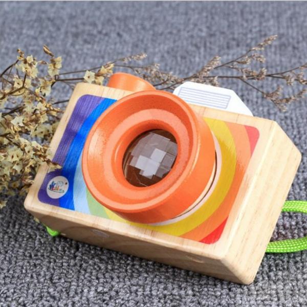 Aparat foto din lemn copii - Camera foto din lemn de jucarie 0
