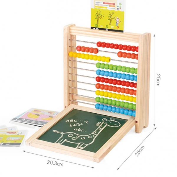 Abac cu tabla cu 2 fete din lemn cu accesorii 4 in 1 5