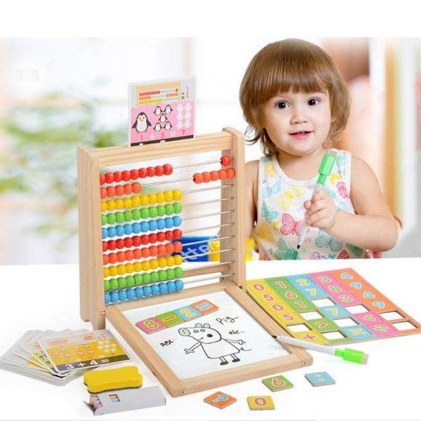 Abac cu tabla cu 2 fete din lemn cu accesorii 4 in 1 1