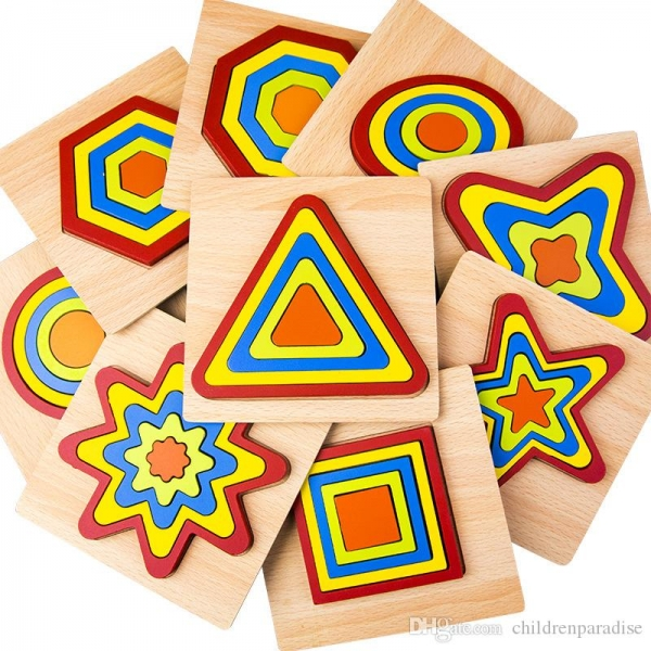 Set 2 Puzzle lemn 3D Curcubeu forme si culori 10