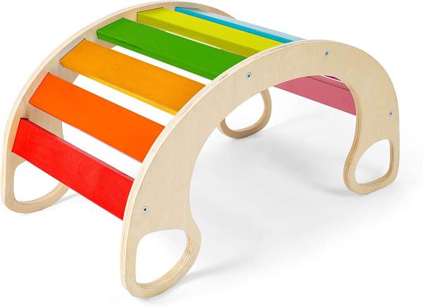 Balansoar din lemn montessori curcubeu Rainbow Rocker [2]