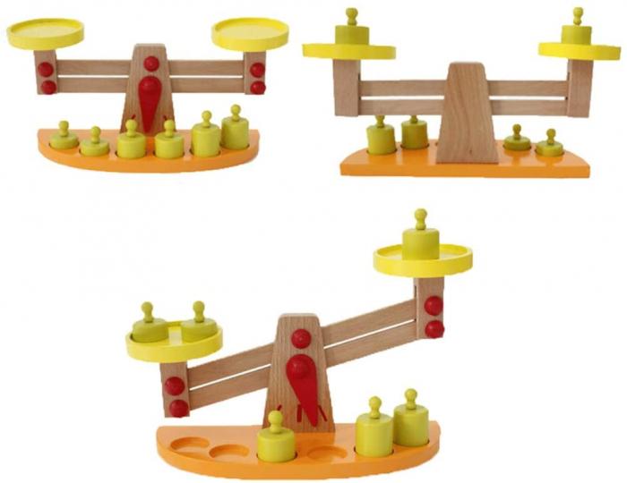 Balanta din Lemn Montessori Cantar cu 6 Greutatii [3]