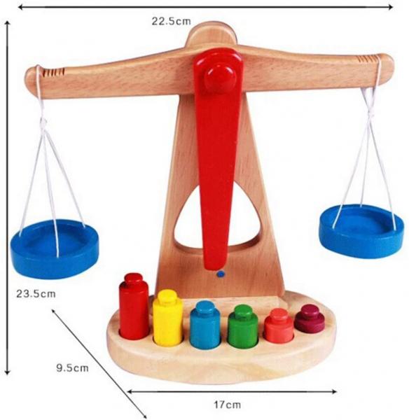Jucarie de Lemn Montessori Echilibru Blanta cu 6 greutatii 1