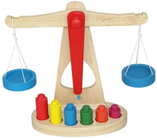 Jucarie de Lemn Montessori Echilibru Blanta cu 6 greutatii 0