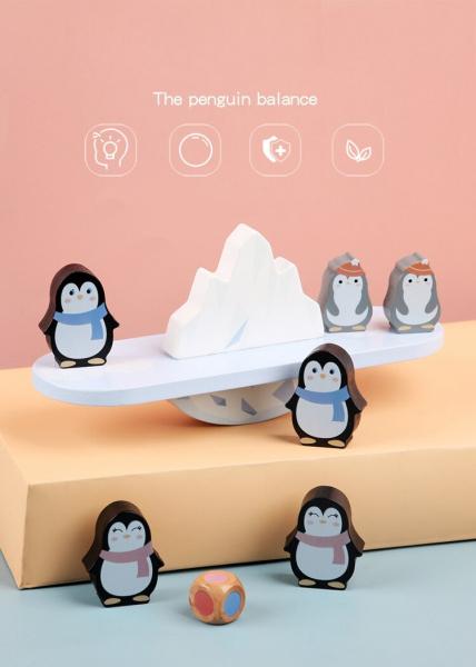 Joc din lemn echilibru Balanta Pinguin 0