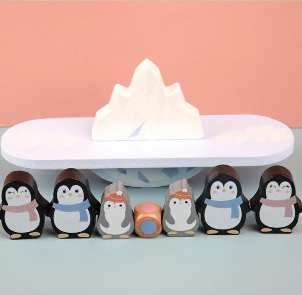 Joc din lemn echilibru Balanta Pinguin 9