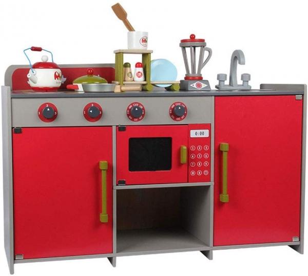 Bucatarie de lemn copii Dubla European Kitchen  cu accesorii 5