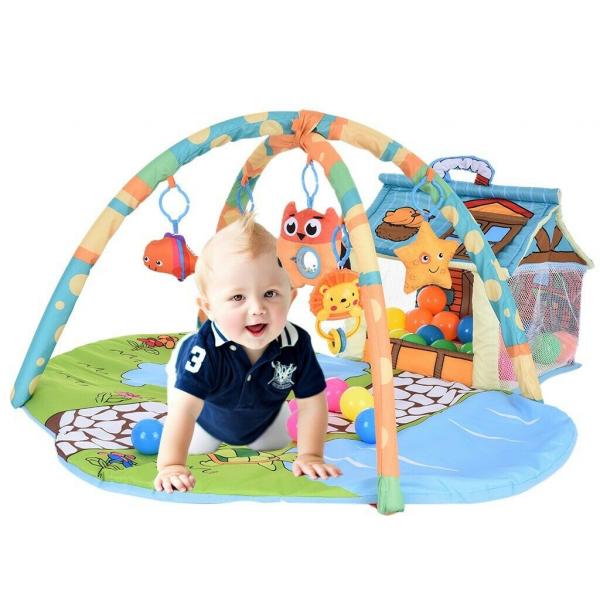 Saltea de joaca bebe 3 in 1 cu bile - Saltea bebe cu tarc cu bile 2