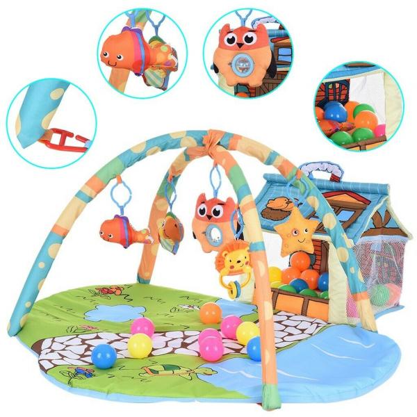 Saltea de joaca bebe 3 in 1 cu bile - Saltea bebe cu tarc cu bile 1