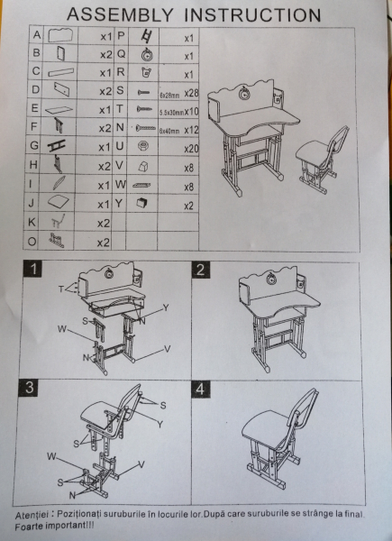 Birou Copii cu scaun - Set Birou si scaun copii 3