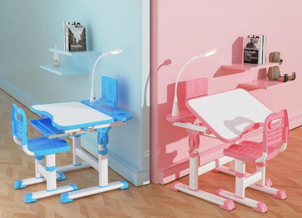 Set birou cu scaun reglabil cu lampa - Masa de studiu pentru copii, lumină LED si sertar de depozitare 0