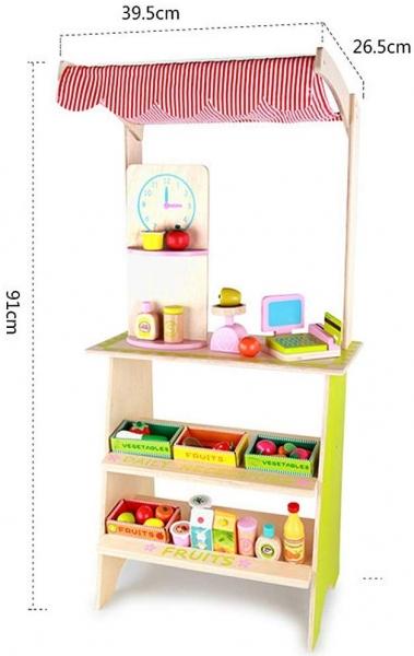 Stand din lemn cu accesorii copii - Supermarket din lemn copii 3