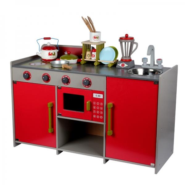 Bucatarie de lemn copii Dubla European Kitchen  cu accesorii 8