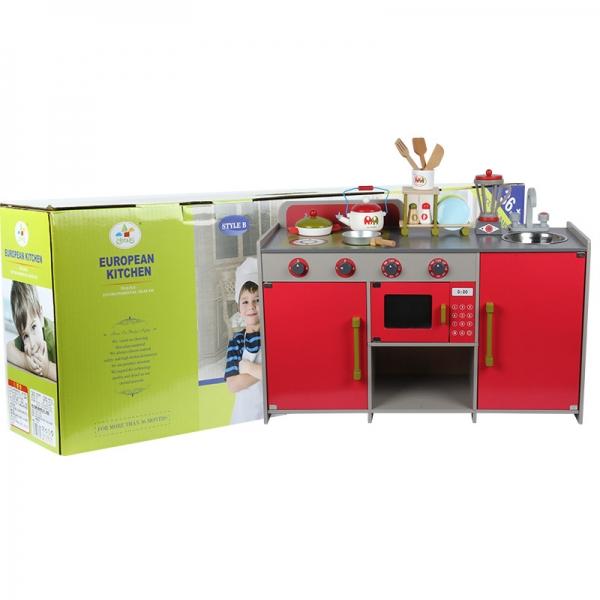 Bucatarie de lemn copii Dubla European Kitchen  cu accesorii 9