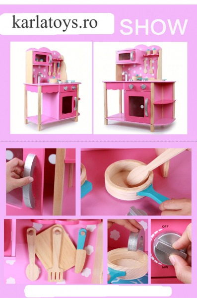 Bucatarie din Lemn Copii cu accesorii Pink 1