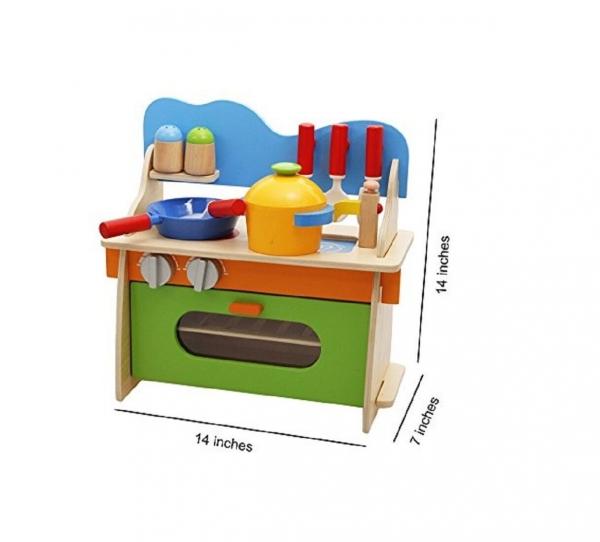 Bucatarie de jucarie din lemn pentru copii Colorata 1