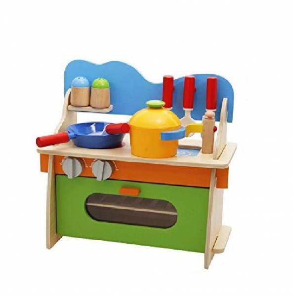 Bucatarie de jucarie din lemn pentru copii Colorata 0