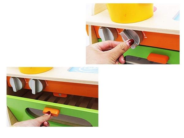 Bucatarie de jucarie din lemn pentru copii Colorata 4