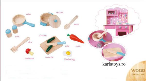 Bucatarie din Lemn Copii cu accesorii Pink 7