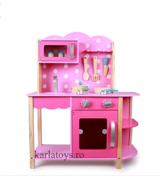 Bucatarie din Lemn Copii cu accesorii Pink 4