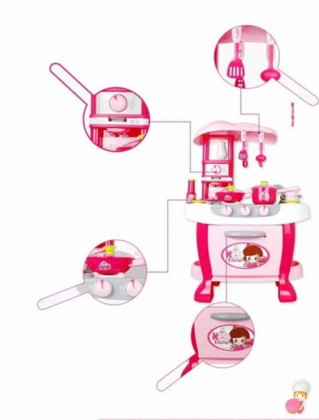 Bucatarie electronica Smart Little Chef copii  31 piese Roz 2
