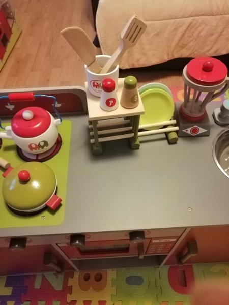 Bucatarie de lemn copii Dubla European Kitchen  cu accesorii 21