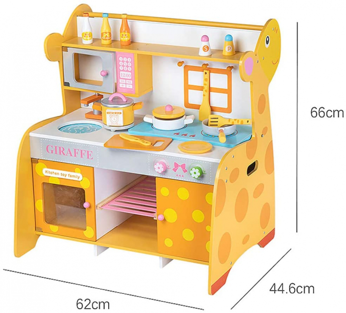 Bucatarie de lemn pentru copii cu accesorii Girafa 6
