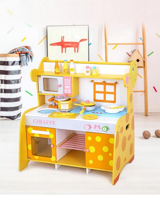Bucatarie de lemn pentru copii cu accesorii Girafa 0