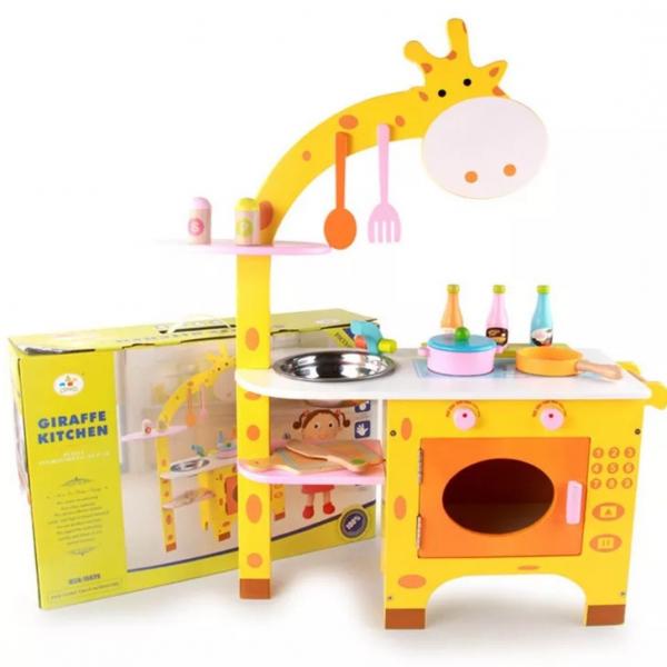 Bucatarie din Lemn Girafa cu accesorii pentru copii 0