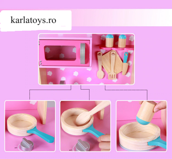 Bucatarie din Lemn Copii cu accesorii Pink 5