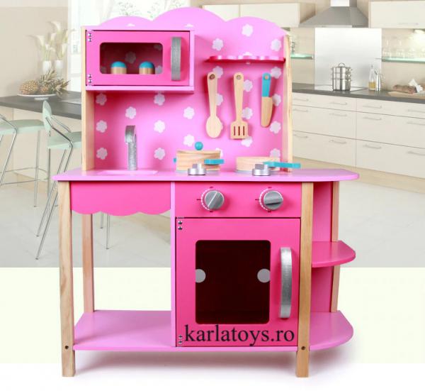 Bucatarie din Lemn Copii cu accesorii Pink 0