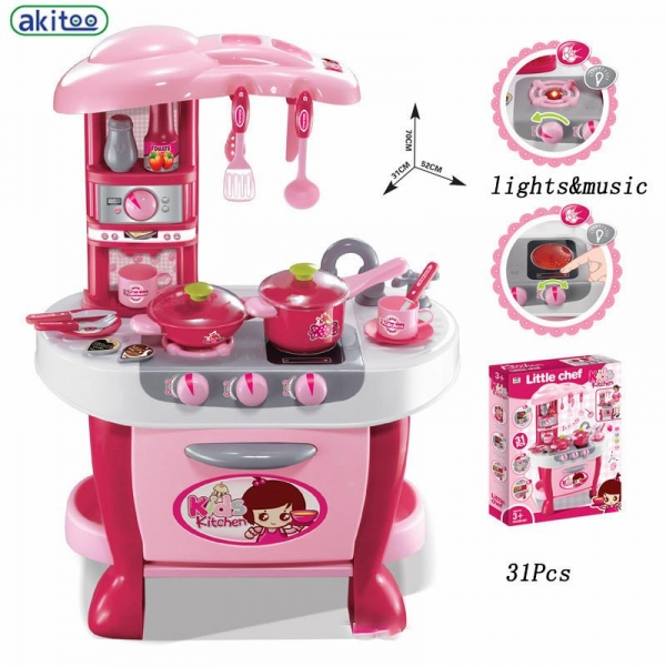 Bucatarie electronica Smart Little Chef copii  31 piese Roz 4