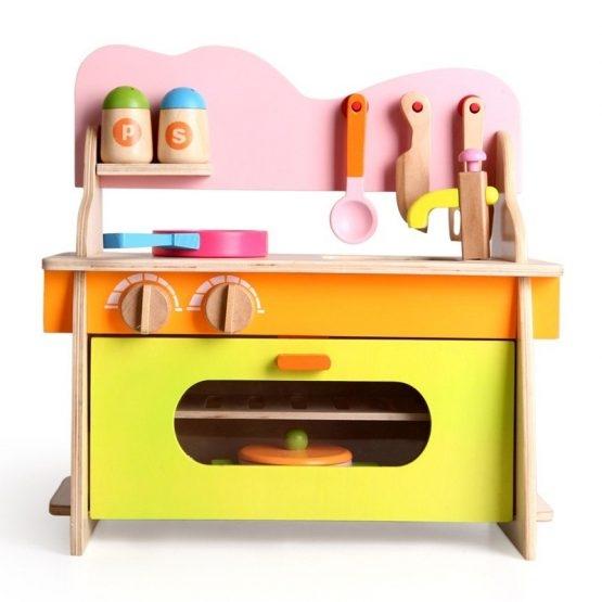 Bucatarie de jucarie din lemn pentru copii Colorata 7
