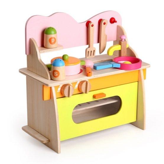 Bucatarie de jucarie din lemn pentru copii Colorata 8