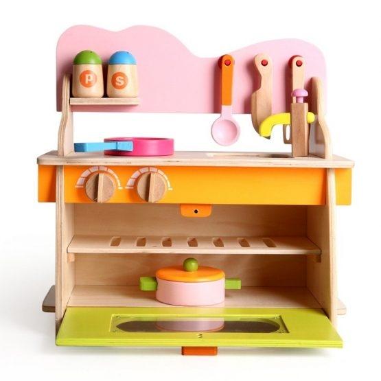 Bucatarie de jucarie din lemn pentru copii Colorata 9