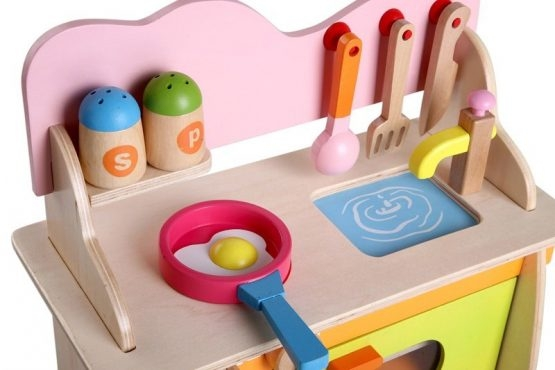 Bucatarie de jucarie din lemn pentru copii Colorata 6