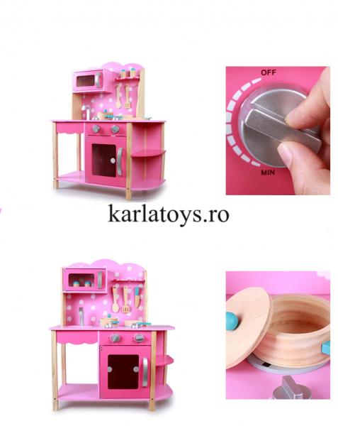 Bucatarie din Lemn Copii cu accesorii Pink 3