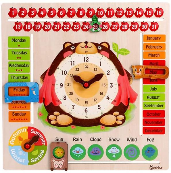 Calendar din Lemnn Ursulet Onshine - Joc Educational Mare Calendar Onshine 0