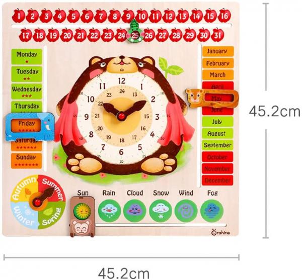 Calendar din Lemnn Ursulet Onshine - Joc Educational Mare Calendar Onshine 3