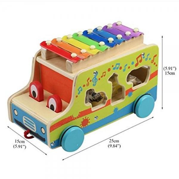 Camion din lemn cu animale si xilofon 4