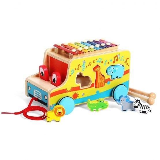 Camion din lemn cu animale si xilofon 2