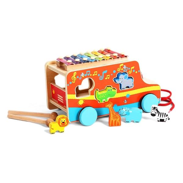 Camion din lemn cu animale si xilofon 0