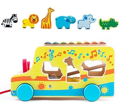 Camion din lemn cu animale si xilofon 3