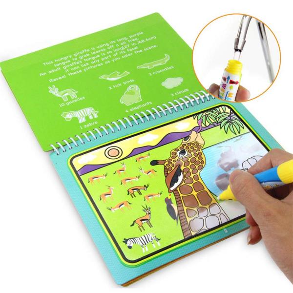 Carte de Colorat cu Apa - Cartea de Desen Magica cu Apa Reutilizabila 2