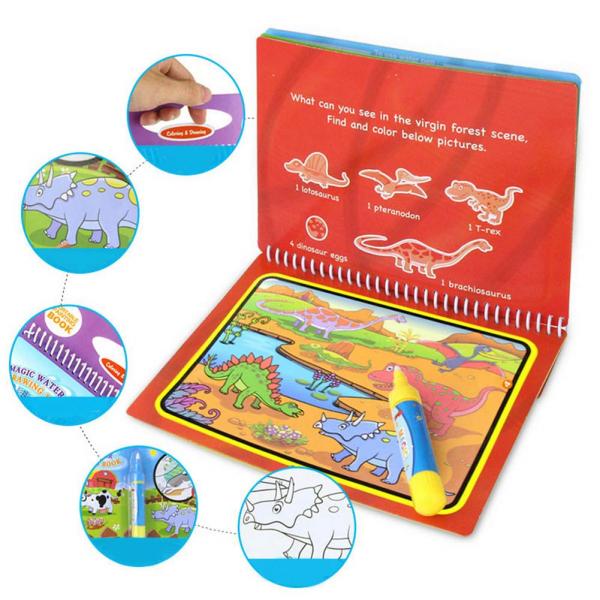 Carte de Colorat cu Apa - Cartea de Desen Magica cu Apa Reutilizabila 4