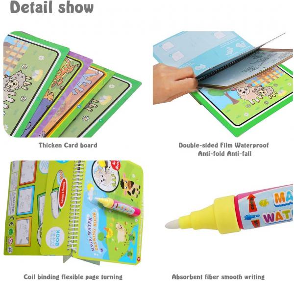 Carte de Colorat cu Apa - Cartea de Desen Magica cu Apa Reutilizabila 3