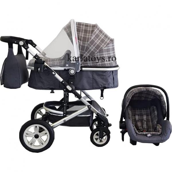 Carucior 3 in 1 transformabil Baby Care -Carucior copii 3 in 1 cu geanta 3