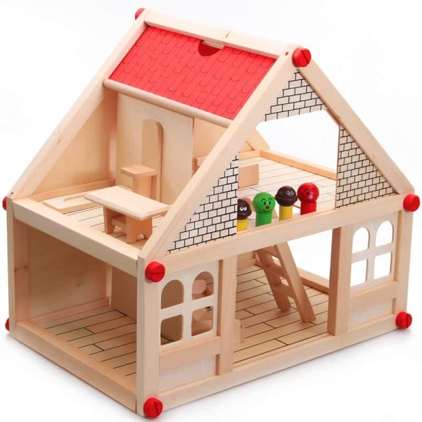 Casuta din lemn pentru papusi cu mobilier 1