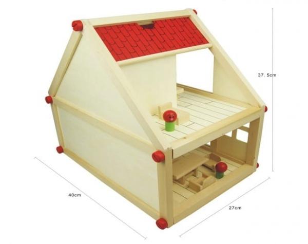 Casuta din lemn pentru papusi cu mobilier 3